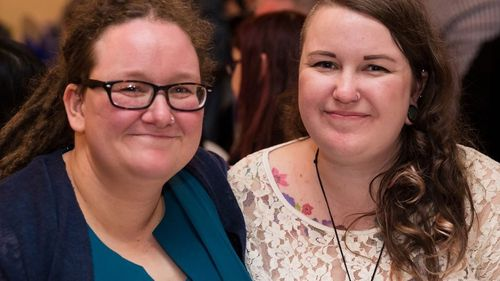 Megs Russell (left) pictured with her partner. Ms Russell says Nardil changed her life.