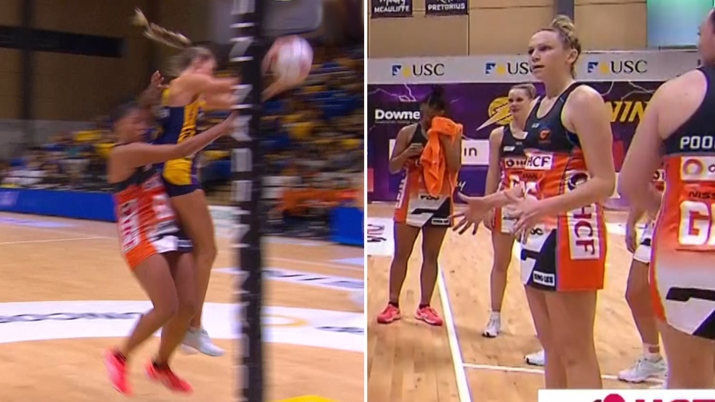 The first incident that got Kristiana Manu'a sent off (L) and GWS player Jo Harten remonstrates with the umpires (R).