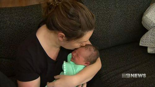 Baby Mitchell with mum, Amanda.