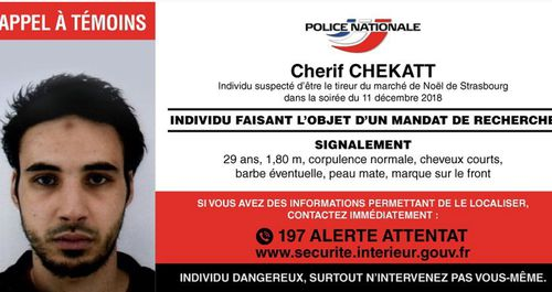 A photo of Cherif Chekatt, 29, who was born in Strasbourg, was distributed publicly on Wednesday evening local time.