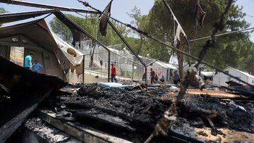 Destruction at the Lesbos migrant camp. (AFP)