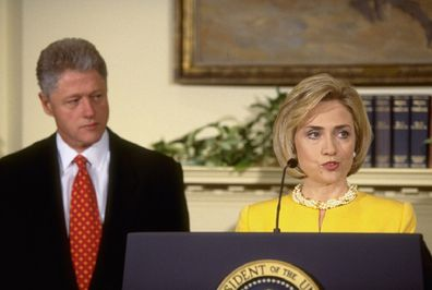 Pres. Bill & Hillary Rodham Clinton at White House childcare event during which he emphatically denied having affair.