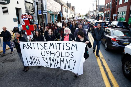 """The Pittsburgh massacre also has fuelled a debate over Mr Trump's rhetoric and his self-identification as a """"nationalist"""", which critics say has led to a surge in right-wing extremism and may have helped provoke the synagogue bloodshed."""