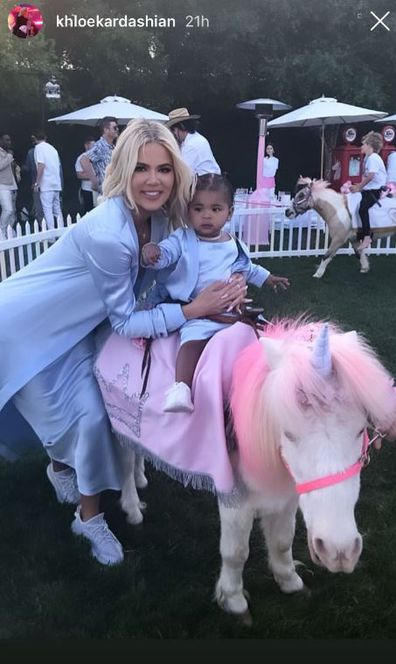 Khloé Kardashian and Tristan Thompson at daughter True Thompson's first birthday party