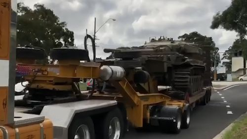The tank being transported to Sydney after a being purchased at auction in Wagga Wagga.