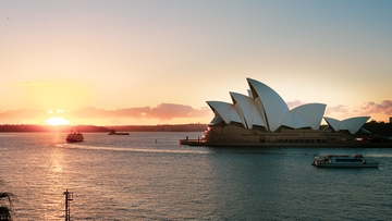 Sunrise on Sydney Harbour featuring Opera House taken from the Park Hyatt Sydney.