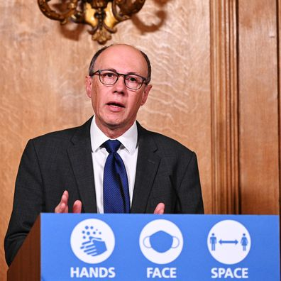 Professor Stephen Powis, National Medical Director of NHS England, talks during the government Covid-19 virtual press conference in Downing Street, on November 12, 2020 in London, England.