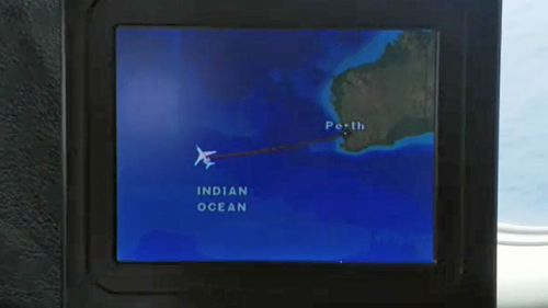 A map showing the location of the rescue operation aboard the Falcon 900 AMSA chartered (9NEWS)