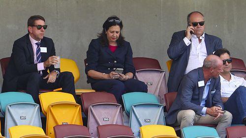 Queensland Premier Annastacia Palaszczuk at the cricket yesterday.