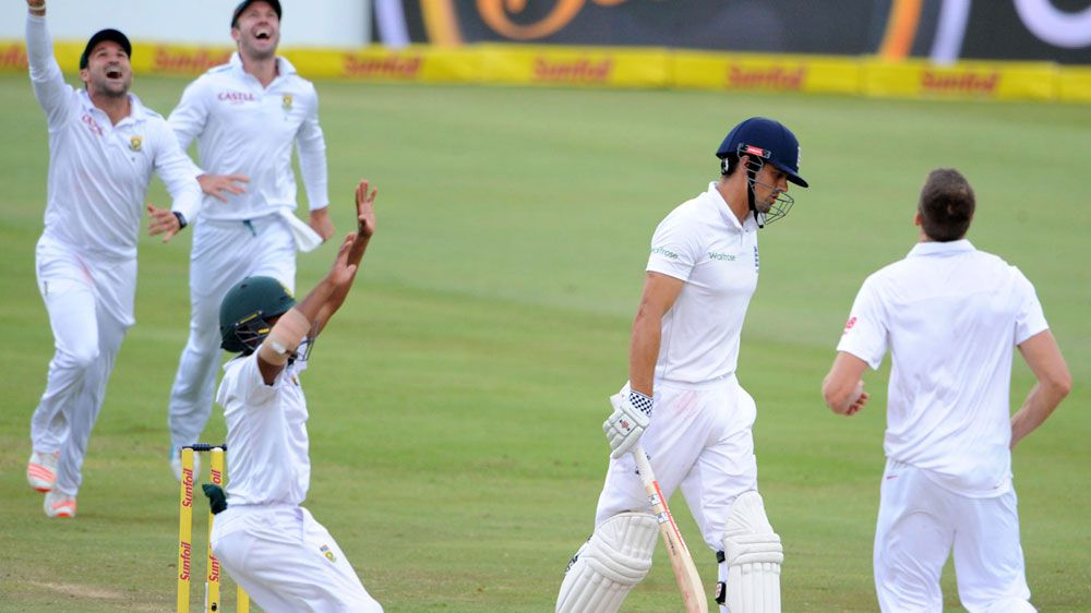 South Africa celebrate dismissing England skipper Alastair Cook. (Getty)