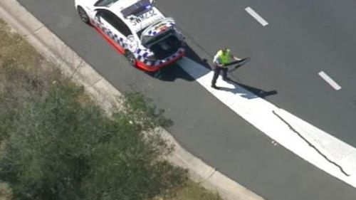 The vehicle earlier avoided a police roadblock. (9NEWS)