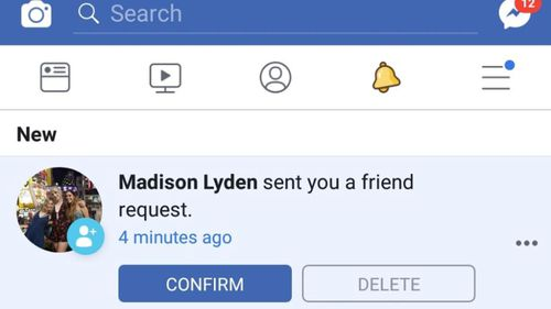 The Facebook friend request sent by the troll to Paige and other relatives of Madison's.