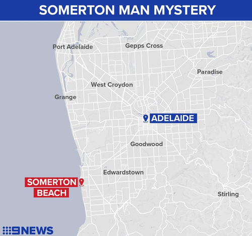 Somerton Beach in relation to Adelaide.