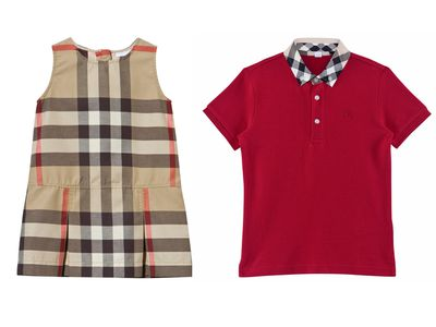 "<p><a href=""https://au.burberry.com/washed-check-cotton-dress-p40181561"" target=""_blank"" draggable=""false"">Burberry Infant Girl Washed Check Cotton Dress, $265</a>&nbsp;and&nbsp;<a href=""https://au.burberry.com/check-collar-cotton-polo-shirt-p40248431"" target=""_blank"" draggable=""false"">Burberry Infant Boy Checked Collar Polo Shirt, $130</a>.</p>"