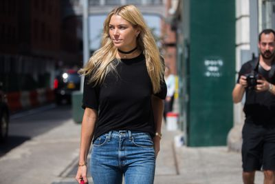 Jess Hart outside the Brock Collection show, New York Fashion Week