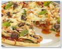 Barbecue sauce chicken pizza