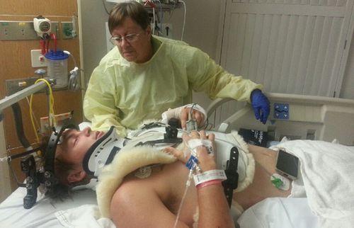 Toby broke his C6, C7 and T1 vertebrae.