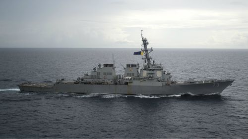 The USS Decatur was approached by a Chinese destroyer near Gaven Reefs in the South China Sea yesterday, the US has claimed.