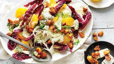 Candied chestnut, blue cheese and fennel salad