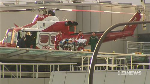 The 22-year-old was flown to hospital yesterday afternoon. Picture: 9NEWS