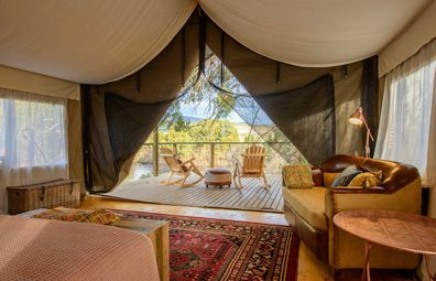 Truffle Lodge luxury glamping canvas tent interiors