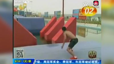Human bullet blazes through Ninja Warrior-style obstacle course