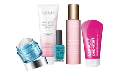 "<p><a href=""https://www.esteelauder.com.au/skincare/new-dimension"" target=""_blank"">Est&eacute;e Lauder New Dimension Sculpt + Glow Mask, $115.</a></p> <p><a href=""http://www.kosmea.com.au/products"" target=""_blank"">Kosmea Rose Glow Body Wash, $26.95.</a></p> <p><a href=""http://www.kesterblack.com/shop"" target=""_blank"">Kester Black Nail Polish in Terrarium, $20.</a><br /> <br /> <a href=""https://www.clarins.com.au/multi-active-day-night/"" target=""_blank"">Clarins Multi-Active Day Lotion SPF 15 for All Skin Types,$62.</a></p> <a href=""https://www.clinique.com.au/product/4323/40544/Just-Arrived/Pep-Start-2-in-1-Exfoliating-Cleanser-125ml"" target=""_blank"">CLINIQUE Pep-Start 2-in-1 Exfoliating Cleanser, $29.</a>"