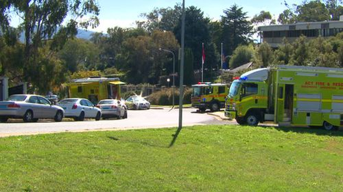 Emergency services were called to the building in Yarralumla around 10:45am yesterday. (9NEWS)