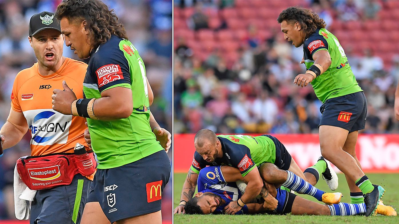 Josh Papalii is sent off after making contact with the head of Tuipulotu Katoa of the Bulldogs