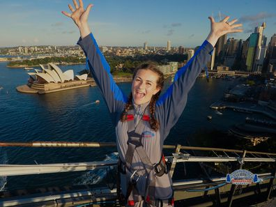 Keiley completes a bridge climb in Sydney before her illness struck.