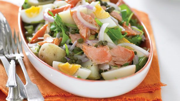Hot potato, egg and smoked trout salad