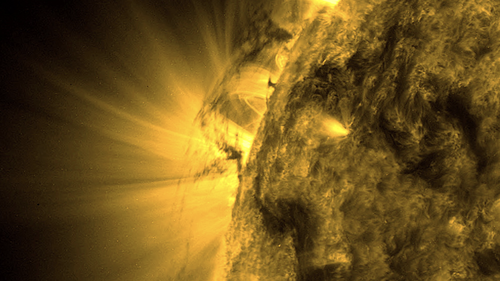 The dark-coloured plumes of plasma seen in SDO images extended more than 32,186 kilometres above the sun's surface.