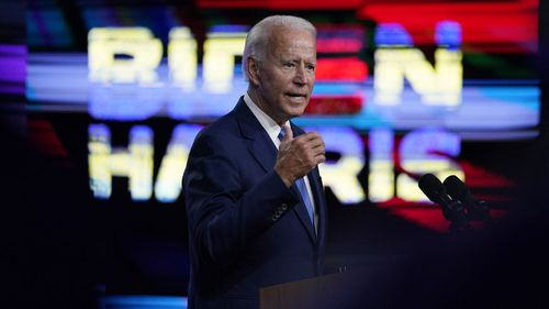 Democratic presidential candidate former Vice President Joe Biden speaks in Wilmington, Delaware, on September 2, 2020, about school reopenings.