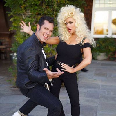 Jessica Simpson and Husband Eric Johnson as Sandy and Danny, 2015