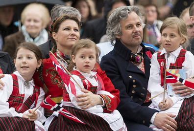 Princess Martha Louise and Ari Behn with their daughters Maud Angelica, Leah Isadora and Emma Tallulah in Southwark Park as they celebrate Norway National Day in 2013.