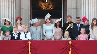 Princess Eugenie, Princess Beatrice, Camilla, Duchess Of Cornwall, Catherine, Duchess of Cambridge, Meghan, Duchess of Sussex, Prince Harry, Duke of Sussex, Peter Phillips, Autumn Phillips, Isla Phillips and Savannah Phillips on the balcony of Buckingham Palace during Trooping The Colour on June 9, 2018 in London, England.