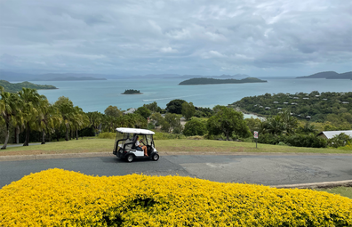 Guests climb into buggies and pay a visit to the island's summit lookout.