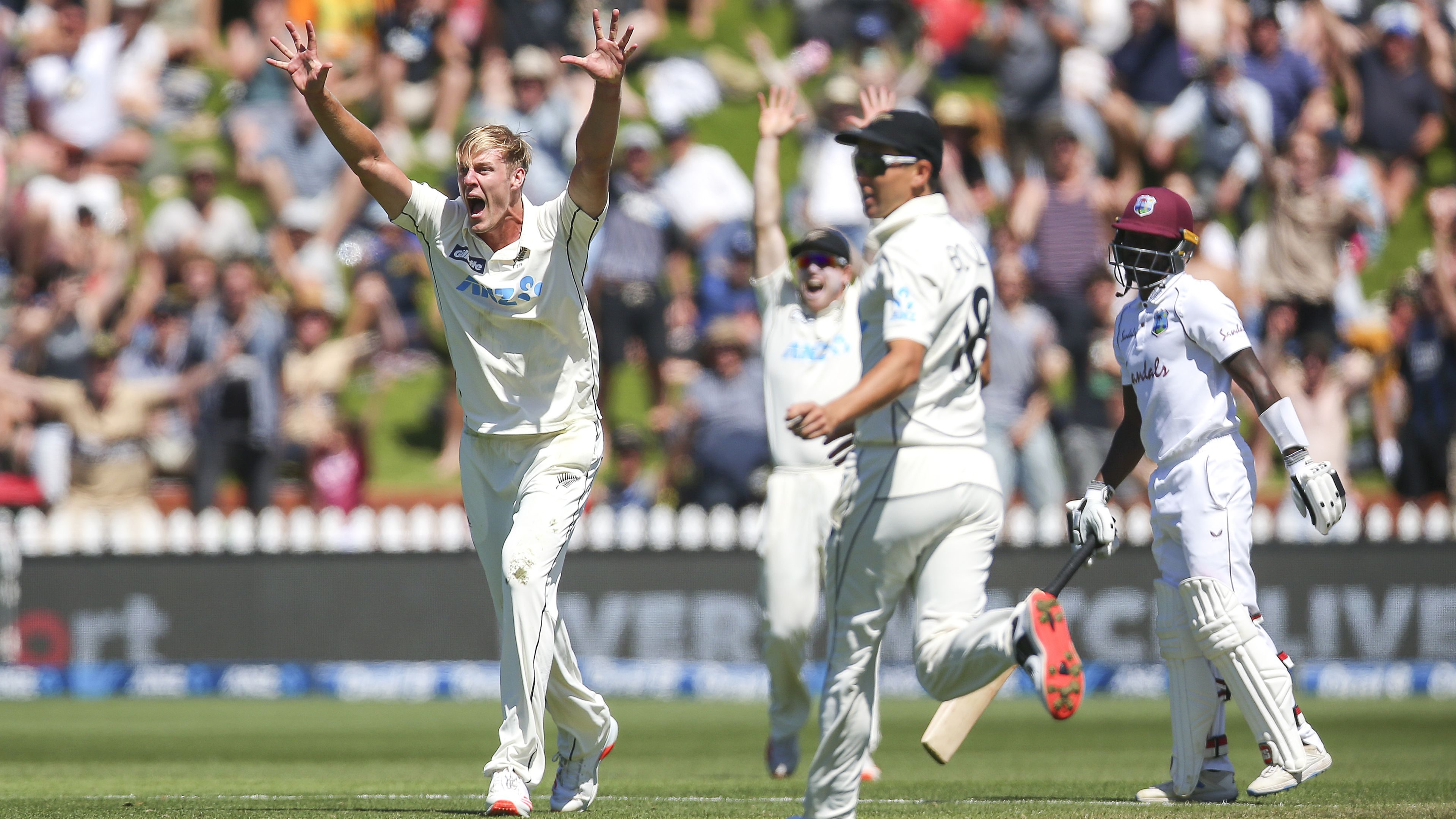 Kyle Jamieson of New Zealand appeals for a wicket at Wellington's Basin Reserve.