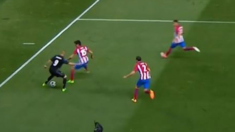 Real Madrid striker Karim Benzema beats three Atletico defenders in Champions League semi-final