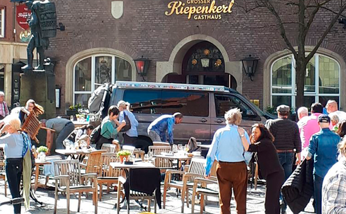 The van crashed into people outside a Muenster pub. (EPA/AAP)