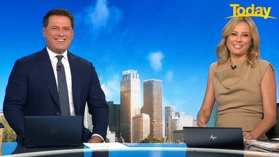 Stefanovic joked that he had 'forgotten what to do' as the camera panned to him.