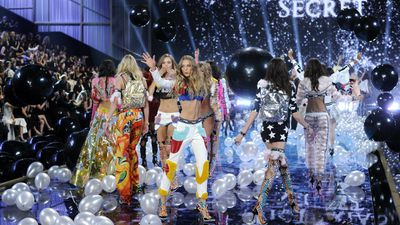 Victoria's Secret models on the runway during the annual fashion show. (AAP)