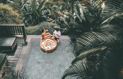 Floating breakfast tray in Bali luxury hotel