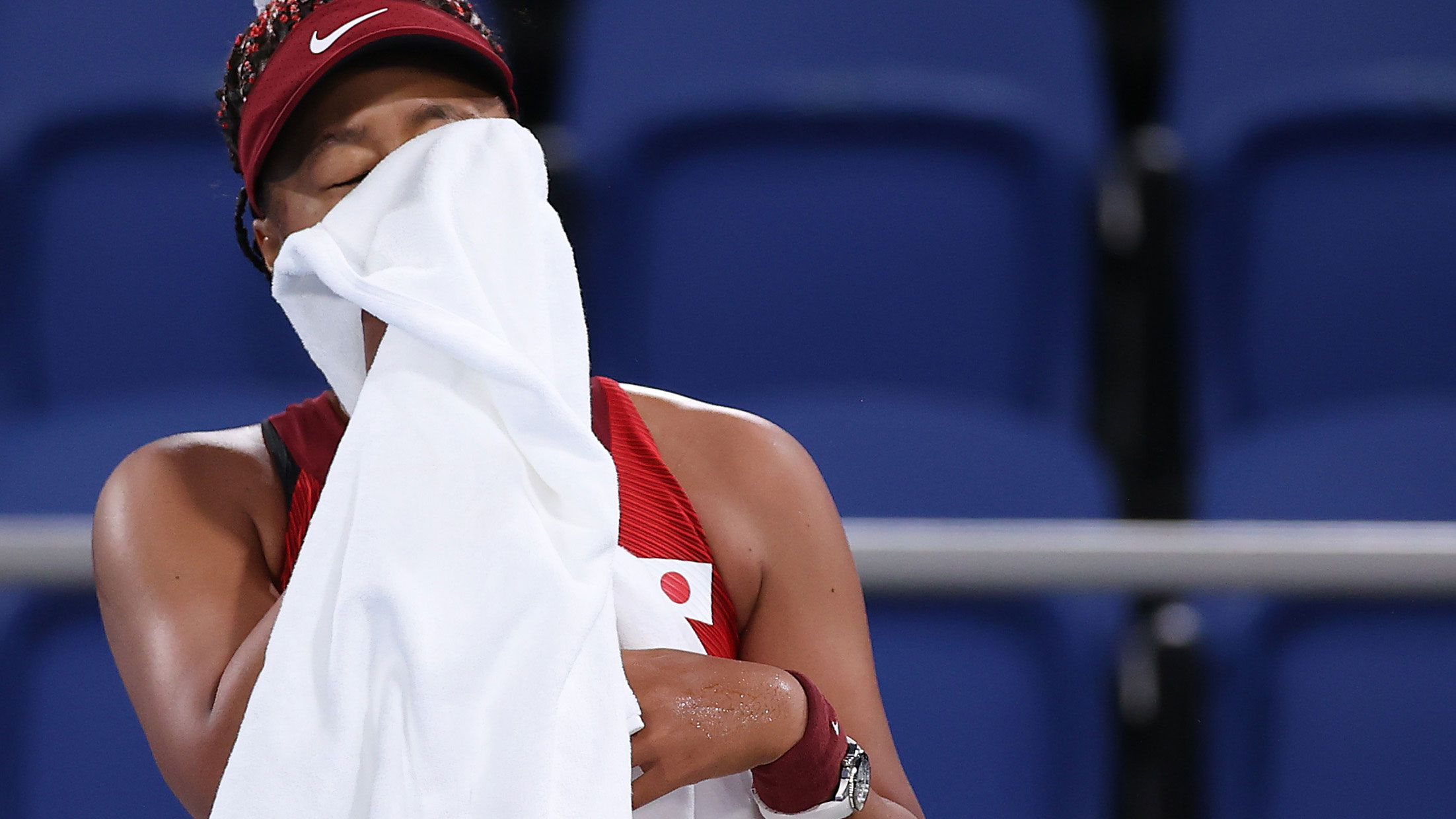 Japanese star Naomi Osaka cuts a distressed figure during her loss against Markéta Vondroušová.