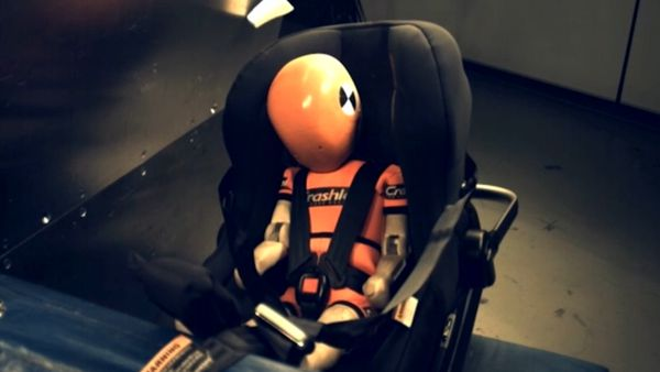 The Child Restraint Evaluation Program included three simulated crashes.