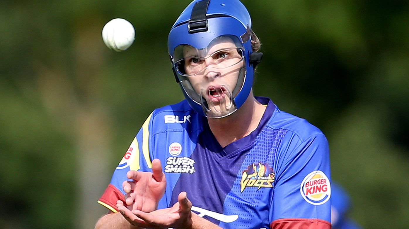 Otago's Warren Barnes wore a helmet while bowling in a game in New Zealand in 2017.