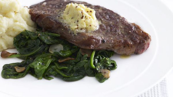 New York steak with garlic-wilted spinach