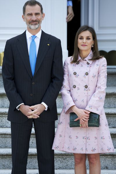 Queen Letizia and King Felipe VI of Spain  at the Zarzuela Palace in Madrid, in April, 2018