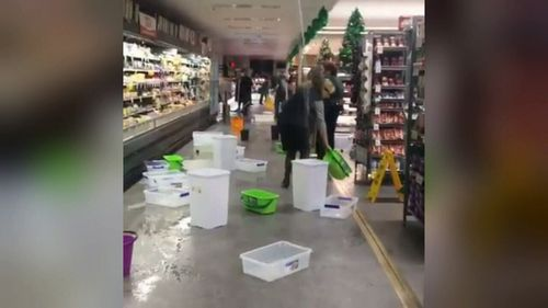 One supermarket suffered a leaky ceiling. (9NEWS)