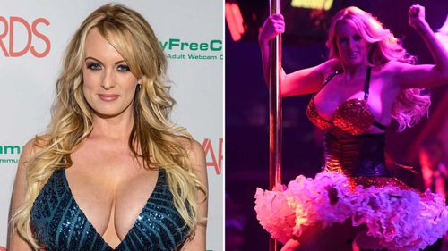 Stormy Daniels on the red carpet, and during a striptease, earlier this year. (AP)